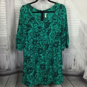 Anthropologie Maeve Tunic Green Floral Dress 8